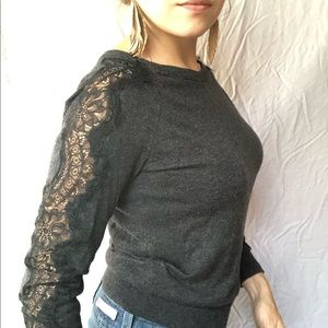 LOFT Lace Sleeve Sweater Charcoal Heather Size MP